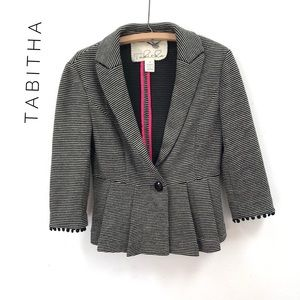 Tabitha Peplum blazer jacket white and black
